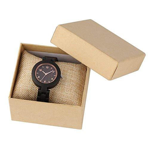 Reloj de madera simple de madera para mujer, movimiento de cuarzo, pulsera de madera completa, reloj de pulsera personalizado de regalo, vapor (color : reloj con caja)