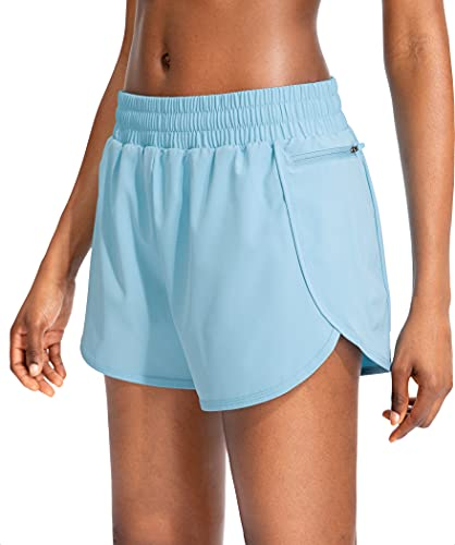 Soothfeel Womens Running Shorts with Phone Pockets High Waisted Athletic Gym Workout Shorts for Women with Liner Light Blue