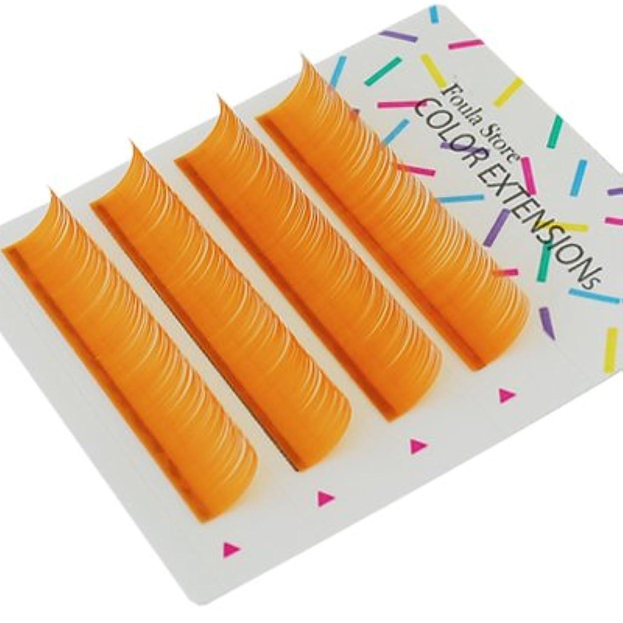 墓地隙間静かな【Foula】カラーエクステ 4列シート オレンジ Jカール 0.18mm×10mm