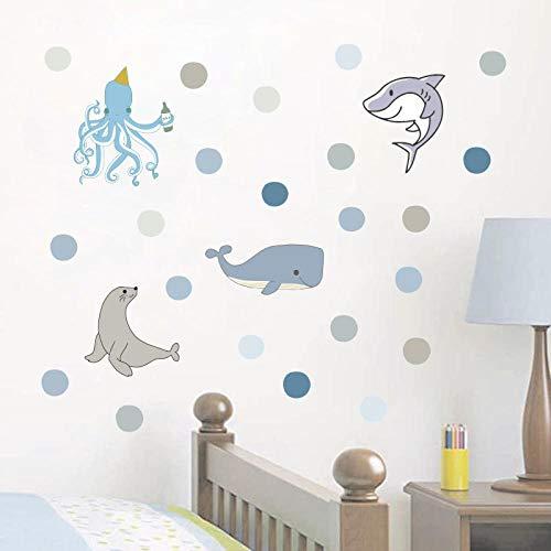 Sticker Wandmeerestier Walhai Seelöwe Oktopus Tapete Wohnzimmer Schlafzimmer Diy Selbstklebendes Papier Wandaufkleber