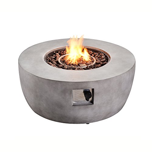 Peaktop HF36501AA Round Concrete Propane Fire Pits, 36', Light Grey
