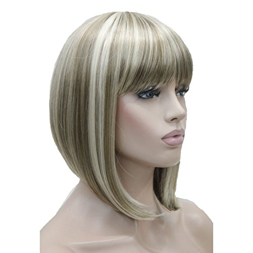 Lydell 10' Short Straight Bob Wigs No Part Full Synthetic Hair Wig #H16/613 Blonde Highlighted