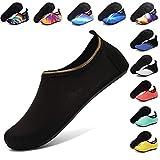 ANLUKE Water Shoes Barefoot Aqua Yoga Socks Quick-Dry Beach Swim Surf Shoes for Women Men Black 40/41