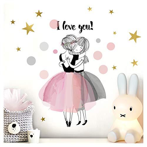 Little Deco Wandtattoo Kinderzimmer Mädchen Spruch I Love You I (BxH) 55 x 36 cm I Wandaufkleber Punkte Wandsticker Sterne Aufkleber Kinder DL211-3