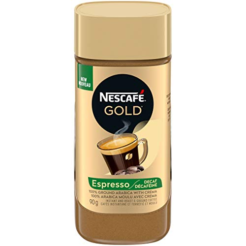 Nescafé 1 Gold Espresso Decaf Instant Coffee, 90 Grams 90g/3.2oz {Imported from Canada}