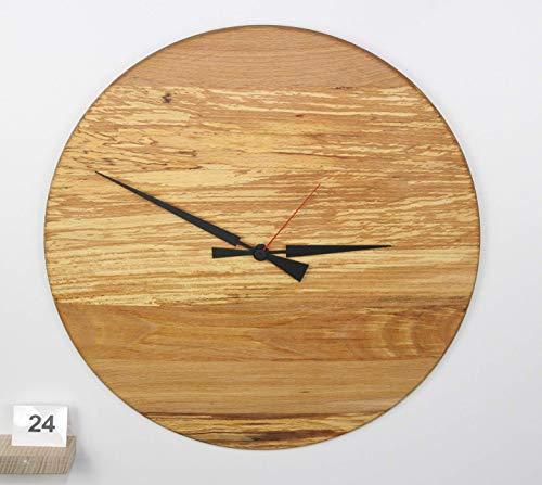 Uhr Wanduhr aus gestockter Buche Wildwuchs Holz konvex lautlos Durchmesser 39cm