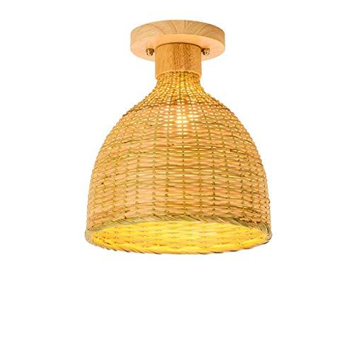 JJZXD Bamboo chandelier restaurant lamp rattan lamp garden tea room tea house study lamp north room chandelier (Size : 30 * 23CM)