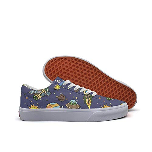 Sernfinjdr Casual lace-up Canvas Shoes for Women Outer Space Galaxy Moon Best Cycling Sneakers