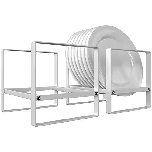 Plate Holders Organizer Vertical Non-slip Dish Drying Rack, Ganamoda Metal Utensil Stand for Kitchen Counter Cabinet Cupboard Camper RV, White