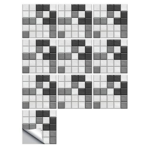 HUANLIAN 20PCS Mosaico 3D Baño Etiqueta De La Pared Decoración del Hogar Backsplash Wallpaper Baño Cocina DIY Azulejo Adhesivo,15X15CM B