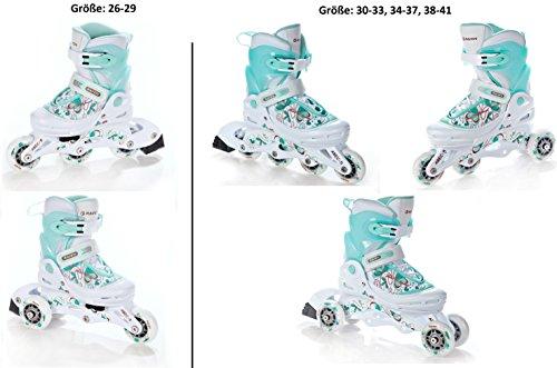RAVEN 3in1 Inline Skates Inliner Triskates Rollschuhe Laguna White/Mint verstellbar Größe: 34-37 (22cm-24,5cm)