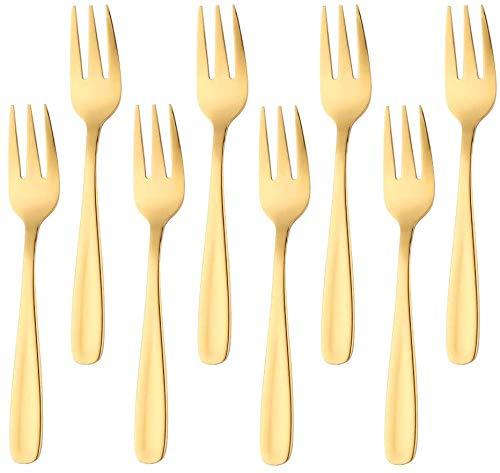 8 Stück Edelstahl Perlen Tee-Gabeln Kleine Dessertgabeln Matt Golden Spiegelpoliert Besteck für Obst-Desserts Eiscreme Gebäck Salat Steak und Buffet