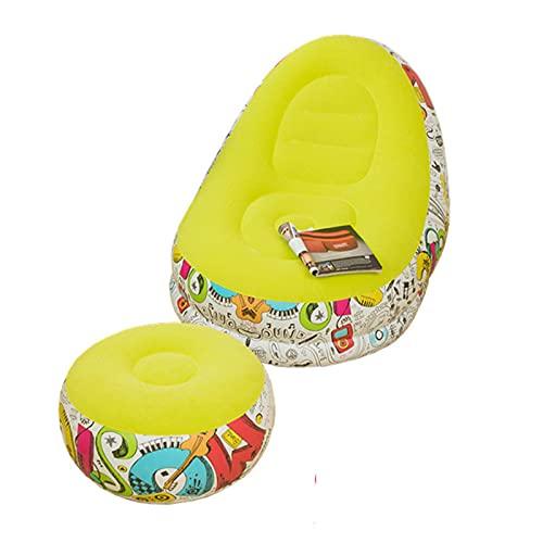 EYLIFE Aufblasbare Couch, Luftsessel, Inflatable Sofa, Aufblasbarer Sessel Erwachsene für Drinnen und DraußEn, Camping, Garten, 116 x 96 x 83 cm/Ø 61 x 31 cm,Gelb