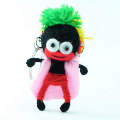 Reggae Dancer - Voodoo-Puppe Schlüsselanhänger als Seelentröster und Glücksbringer als Accessoire - Anhänger für Taschen Handy Autorückspiegel – Voodoo Doll Handgemacht aus Wolle und Stoff