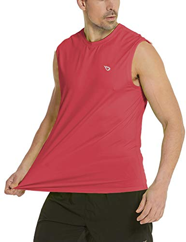 BALEAF Men's Sleeveless Tank Top Quick Dry Muscle t Shirts Gym Workout Bodybuilding Running Tech Tops Red S