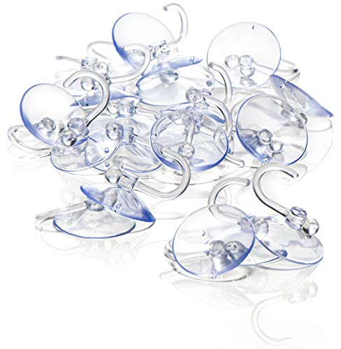 com-four® 20x Saugnapfhalter mit Kunststoffhaken - Mehrzweck-Haken für Lichterketten und andere Dekoration - Wandhaken (20 Stück - Ø 4cm)