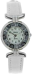 GlassOfVenice Reloj Millefiori de cristal de Murano con correa de piel, color blanco