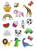 Tatuajes temporales, artificiales, serie para niños, niñas, diseño lindo y vistoso, unicorno, dinosaurio, mariposa, para fiesta, cumpleaños, hoja doble, diversión, 34 tatuajes, hecho por TATSY