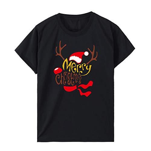 Maglietta Natale da Donne per T-Shirt da Donne, Toamen Divertente Magliette Manica Corta Cotone Babbo Natale Tops Natalizia novità Regali di Natale(# 2 Nero,XL)