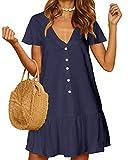 YOINS Mini Robe Été Femme Petite Robe Casual Col V Manches Courtes Robe Courte Ourlet Ample Bouton-Bleu XL