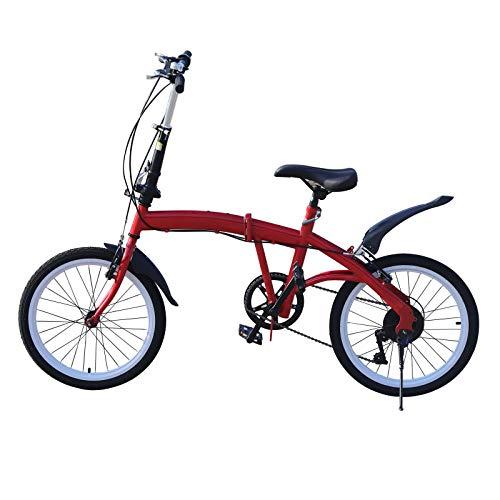 Bicicleta plegable de 20 pulgadas, 7 velocidades, unisex, para adultos, jóvenes, capacidad de carga máxima de 90 kg (rojo)