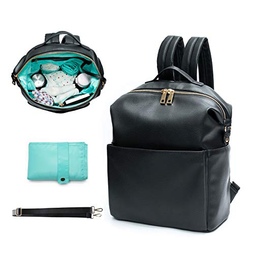 Diaper Bag Backpack Mominside leather backpack for women Baby Bag Changing Pad