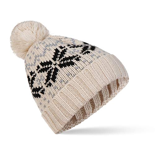 SHYPT New Snowflake Pompom Beanie Korean Fashion Winter Warm Stricken Dicker Hut für Frauen und Männer (Color : E)