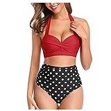ASASOUYV Women Two Piece Bikini Set,Vintage Swimsuit Halter Ruched High Waist Print Swimwear Red
