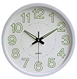 12-inch Modern Silent Wall Clock Battery Operated Non Ticking Digital Luminous Round Decorative Wall Clock, for Kitchen, Living Room, Bedroom, Bathroom, Office (White, 12 inch)