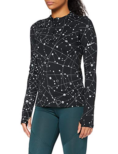 Nike Damen Element Flsh Top Sweatshirt, Black/Reflective Silv, M