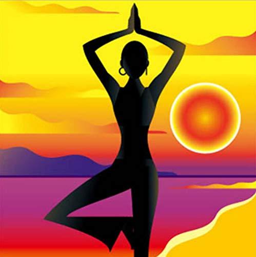 Diy 5d Diamante Pintura Taladro Completo Kit Sunset yoga 11x15inch(30x40cm) de Bordado de de Punto de Cruz Decoración de la Pared del Hogar
