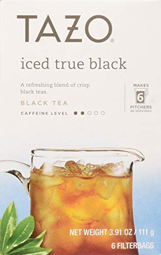 Tazo Tea Bag, Iced True Black, 6 ct, Pack of 4 (Packaging may vary)
