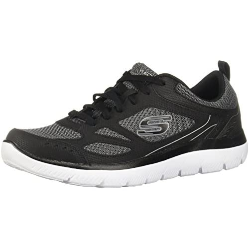 Skechers Mens Summit South Rim Trainers in Black White- Padded Collar and