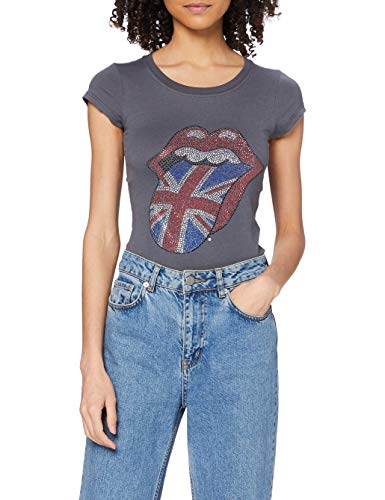 Rolling Stones Classic UK Tongue - Camiseta manga corta para mujer, color negro, talla Small