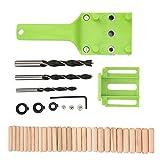 Walfront 41 unids/set carpintería madera guía de perforación herramienta bisagra agujero de perforación enrutador plantilla de hardware guía herramientas de carpintería(Verde)