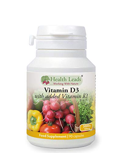 Vitamin D3 3000iu and Vitamin K1 100mcg 90 Capsules, Manufactured for Maximum Absorption, Magnesium Stearate Free & No Nasties, Made in Wales