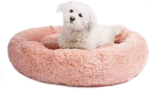 Hundebett Haustier Schlafplatz Katzenbett Weiches Welpenbett Warmes Hundekissen Katzenkissen Donut Hundedecke Hundeschlafplatz Waschbares Baumwollbett Haustierbett für Hunde Katzen Welpen (Rosa L)