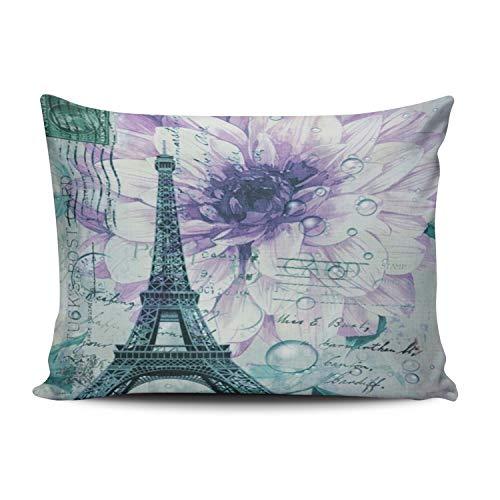 Moily Fayshow Viola Floreale Vintage Parigi Torre Eiffel Federa Morbido Cerniera Verde Coperte e Plaid Fodera per Cuscino Fodera per Cuscino Moda 50X75 Cm