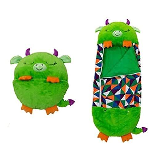 YTTde Bolso de Dormir para niños 2 en 1 Animales de Dibujos Animados Almohada Plegable Nappers Feliz Nappers Bolso para Dormir Almohada para niños S Viajes/Play/Juguete,Verde