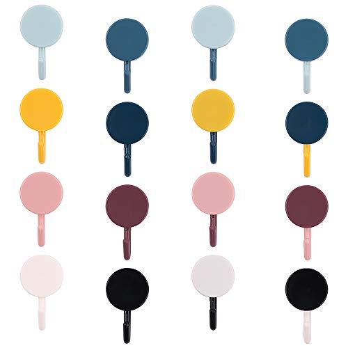 40 Stück Selbstklebende Wandhaken,Selbstklebende Klebehaken Ohne Bohren Wasserfest Haken Wandhaken Selbstklebende Haken Bunte runde Form Klebehaken Wasserdichter Kunststoffhaken Multifunktionshaken