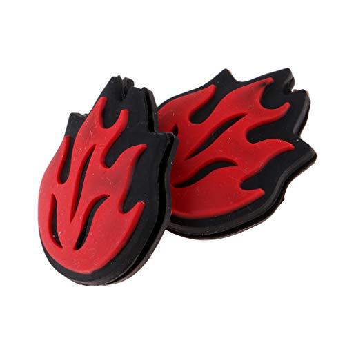 Baoblaze 2 Pedazos Amortiguador para Raqueta de Tenis a Prueba de Choques y Vibración de Llama de Fuego - Rojo, Tal como se Describe
