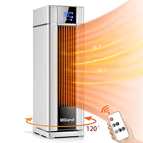 Space Heater With Remote Control,LCD Ceramic Tower Heater 120 °Oscillating 1500W Fast Heating Electric Heater With Thermostat 12H Programmable Timer 3 modes Air Conditioner For  Living Room Bathroom Electric Heater Space