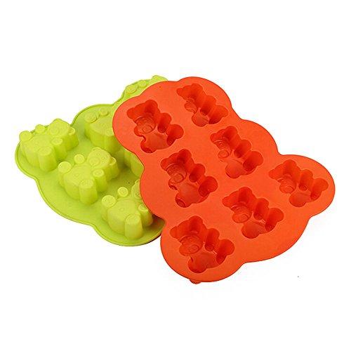 Kentop Lot de 2 moules en silicone en forme d'ourson pour fondant Moule à chocolat, gelée, bonbons et pâtisseries 7 grilles ( Couleur aléatoire)