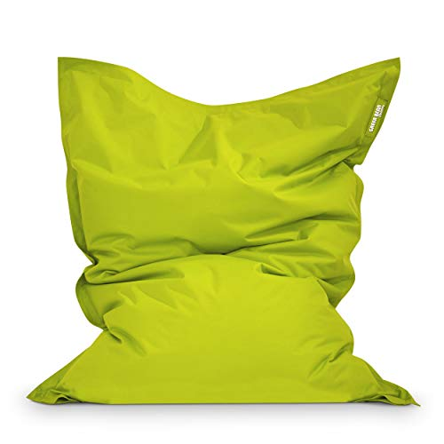 Green Bean Outdoor © Square XL Garten Sitzsack 120x160 cm - 270 Liter EPS Perlen Füllung - waschbarer Bezug, mit Innensack - Terrasse Lounge, Balkon Bean Bag Chair - Kinder & Erwachsene - Hellgrün