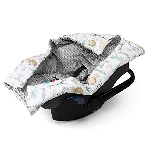 Navaris Einschlagdecke für Babyschale - universal Baby Decke für u.a. Maxi Cosi Römer Cybex Autositz - Kinderwagen Fußsack - Decke Tierwelt Design