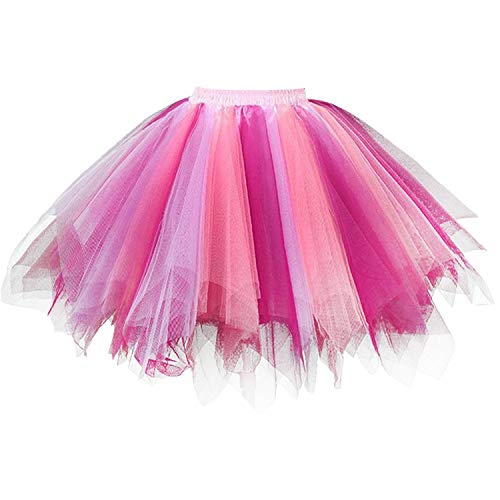 DresseverBrand Damen Petticoat 50er Rockabilly Jahre Retro Tutu Ballet Tüllrock Cosplay Crinoline Korallen-Fuchsia Large/X-Large