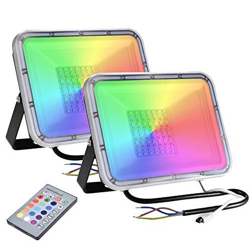 2 x 50W RGB Focos LED Exterior 4000lm 16 Colores & 4 Modos,...