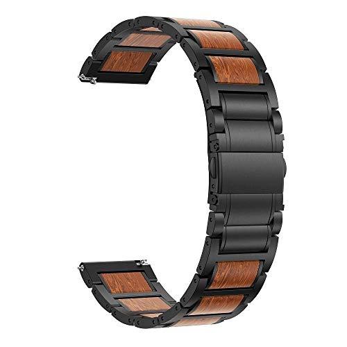 REDCVBN Uhrenarmbänder Edelstahl Holzarmband Ersatz für Samsung Gear S3/Galaxy Uhr 46mm Band 22mm Holzarmband Armband für Galaxy 46mm (Color : Wood Black, Size : 22mm)