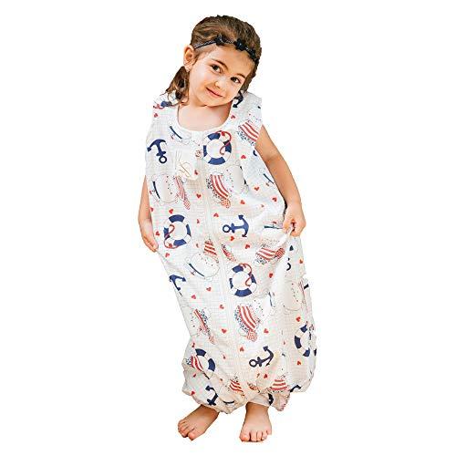 Schlafsack Baby Sommerschlafsack Babyschlafsack Baby Sommerschlafsack mit Beinen | Bio-Baumwolle | Sommer Schlafsack Baby Farbe Weiß mit Bären Anker Seemann Schlafsäcke 100cm
