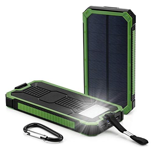Huante Solar Power Bank 30000mah, with Dustproof and Waterproof 2 Usb Portable Battery Pack Led Flashlight, External Mobile Phone Charger, Suitable for Smart Phones (Color : Green)